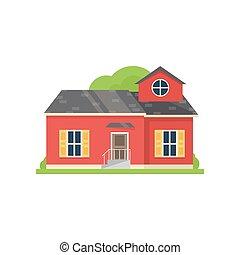 płot, cielna, klasyk, okna, dom, wieś, czerwony