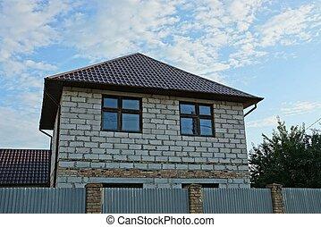 płot, szary, prywatny, okna, dom, cegła, za