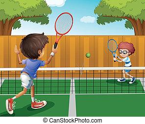 płot, wnętrze, tenis, dwa chłopca, interpretacja