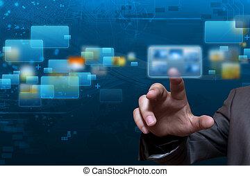 płynący, ekran, technologia