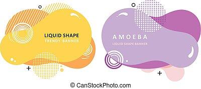 płyn, barwny, ameba, plazma, concept., nowoczesny, forma.,...