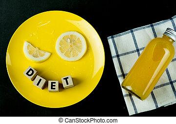 płyta, żółty, pomarańcza, świeży sok, cytrynowa kromka, butelka
