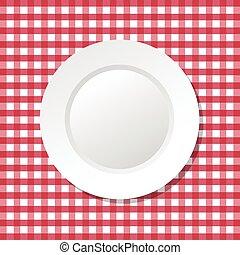 płyta, ilustracja, wektor, czerwony tablecloth, opróżniać