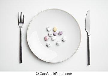 płyta, jaja, wielkanoc, czekolada