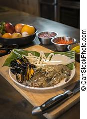 płyta, klamra, warzywa, zdrowy, produkty morza, kałamarnica, jadło, surowy, krewetka, owoce