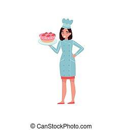 płyta, kobieta, zachwycający, pracujący, płaski, piekarz, młody, jednolity, radosny, s, wektor, projektować, dzierżawa, hat., mistrz kucharski, cake.
