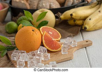 płyta, kostki, drewniany, lód, pokrojony, tło., owoc, pomarańcza
