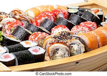 płyta, pełny, sushi, zmieszać