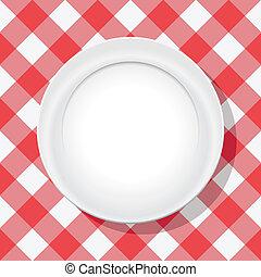 płyta, piknik, wektor, czerwony tablecloth, opróżniać