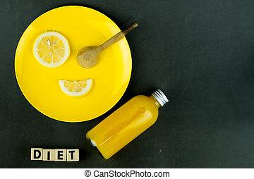 płyta, pomarańcza, świeży, cytryna, butelka, sok, żółty, kromka