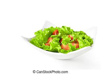 płyta, sałata, tło., zdrowe jadło, roślina, pomidory