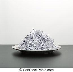 płyta., strzępiony, odizolowany, stos, papiery, biały