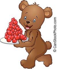 płyta, transport, czerwony, niedźwiedź, serce