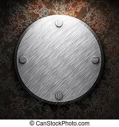 płyta, zardzewiały metal, aluminium