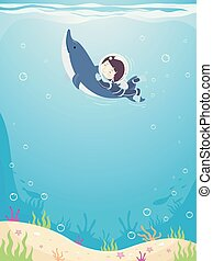 pływać, chłopiec, delfin, ilustracja, koźlę