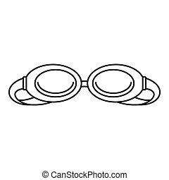 pływać, ikona, styl, szkic, okulary