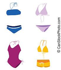 pływać, kostium kąpielowy, bikini