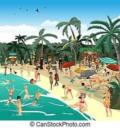 pływać, lato, gra, plaża., bar, illustration., kelner, dj., ...