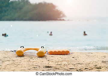 pływać, lato, wallpaper., pływak, rura, zamazany, tropikalny, wewnętrzny, tło, ring, plaża, albo, krajobraz, sea.