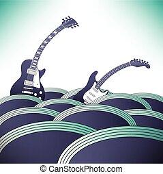 pływać, muzyka, dwa, gitary, ocean