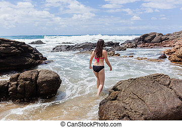 pływać, ocean, skała, dziewczyna, plaża, kałuża