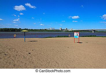 pływać, plaża., opróżniać, omsk, prohibited.