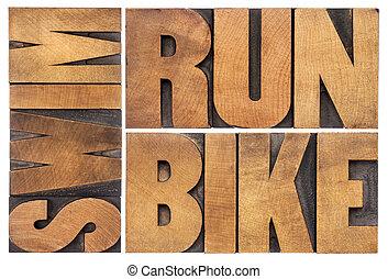 pływać, triathlon, pojęcie, rower, -, pasaż