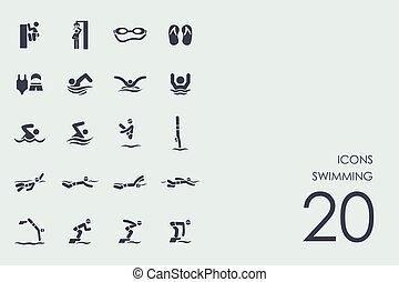 pływacki, komplet, ikony