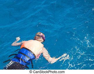 pływacki, młody, morze, człowiek