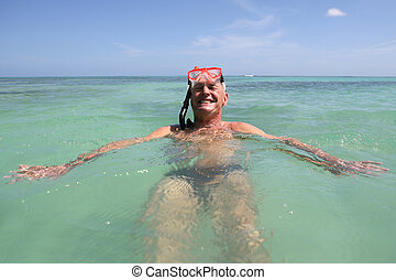 pływacki, nurkowanie, snorkel, upozorowywać człowieka