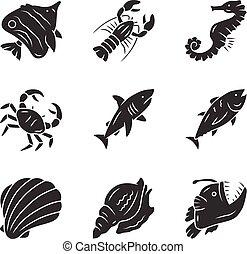 pływacki, odizolowany, zwierzęta, ilustracja, tuna., marynarka, organism., ikony, sylwetka, anglerfish., produkty morza, rekin, krab, symbols., restaurant., homar, glyph, wodny, set., podwodny, wektor, creature.