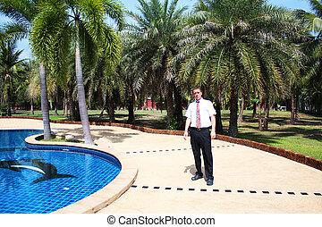 pływacki, stał, pool., człowiek