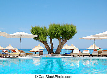 pływacki wrębiają, na, luksus, hotel, kreta, grecja