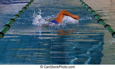 pływak, atak, uderzenie, przód