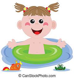 pływak, zabawny, girl.
