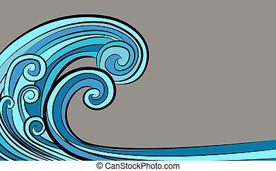 pływowy, tsunami, ocean, rysunek, machać