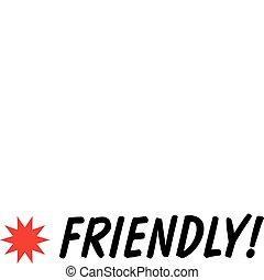 přátelský, menu, firma, svorka umění