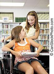 přátelství, knihovna, -, škola