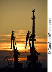 přístav, lodní náklad, jeřáb, nad, západ slunce lye, grafické pozadí