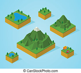 před, synod, isometric, map-mountain