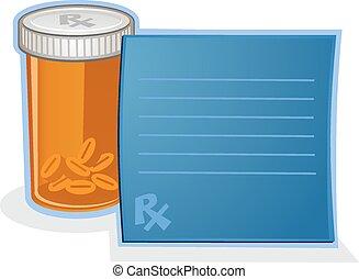 předpis přecpat léky, kulička sklenice