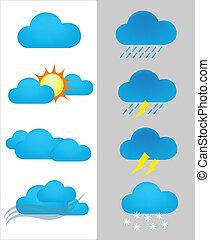 předpověď, ikona, počasí