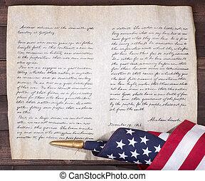 předseda, abraham, lincoln's, gettysburg, adresovat