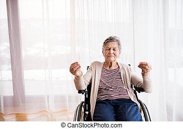 představený eny, do, židle na kolečkách, v, home.