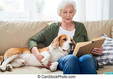 představený eny, povolit at home, s, pes