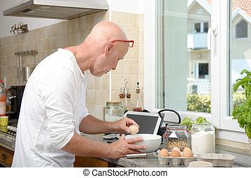 představený voják, vaření, od kuchyně, doma, s, tabulka