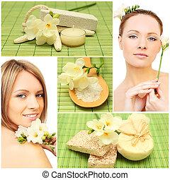 překrásný, úsměv eny, koupel, mýdlo, kosmetický, a, květiny, -, lázně, koláž