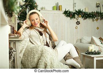 překrásný, úsměv eny, módní modelka
