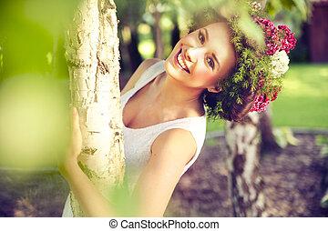 překrásný, úsměv eny