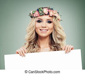 překrásný, úsměv eny, s, čistý, deska, noviny, grafické pozadí